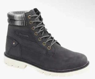 Antracitové pánske zimné šnurovacie topánky s bielou podrážkou