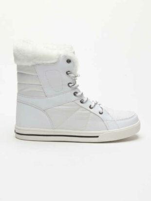 Biele dámske zimné topánky v jedinečnom dizajne