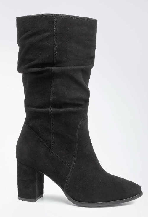 Čierne dámske čižmy Lasocki s výškou do polovice lýtok