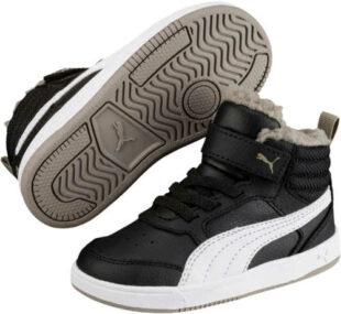 Čiernobiele detské zimné tenisky Puma REBOUND STREET V2 FUR PS
