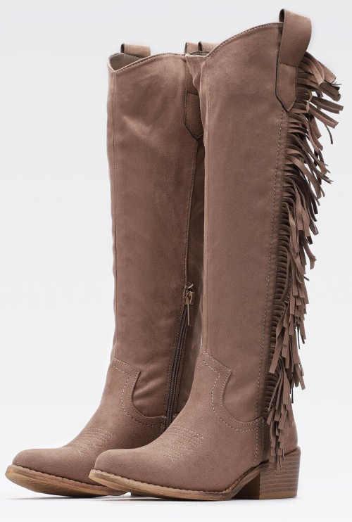 Dámske lacné western čižmy so strapcami