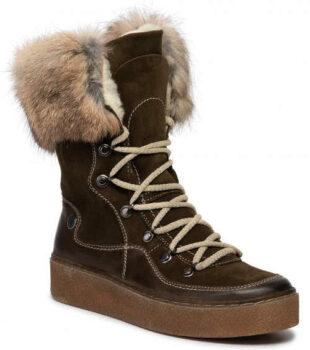 Dámske vyšší zimné topánky z prírodnej kože POLLONUS