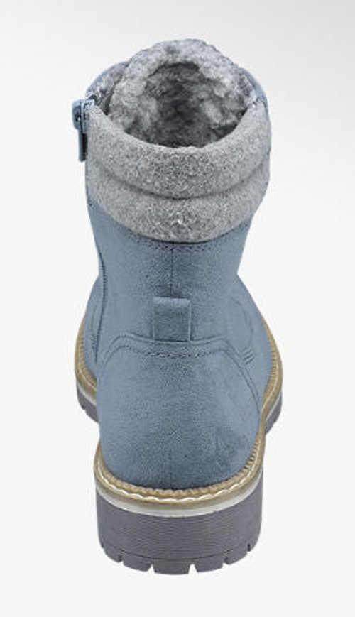 Dámske zimné kotníkové topánky džínsový vzhľad