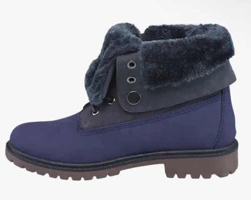 Modré dámske zimné topánky s teplým kožúškom