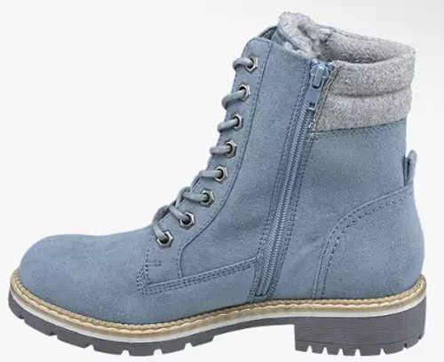 Svetlo modrá dámska zimná členková obuv so šnurovaním a zipsom