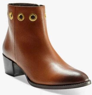 Členkové kožené topánky s kovovými očkami