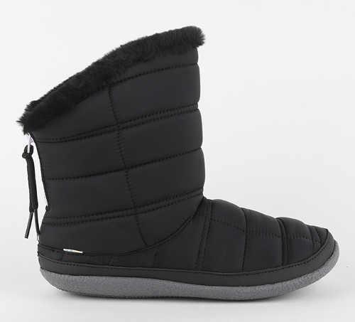 Dámske čierne barefoot snehule Toms Black Quilted