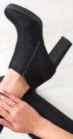 Lacné nízke čierne čižmy na vysokom podpätku