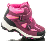 Ružovo-fialové detské zimné topánky s dvoma pásky na suchý zips