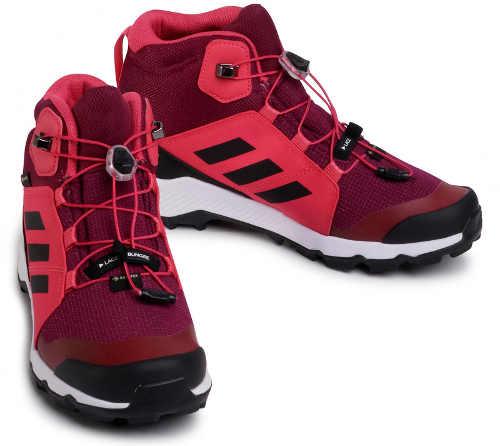 Vínové dámske outdoorové topánky Adidas jeseň zima