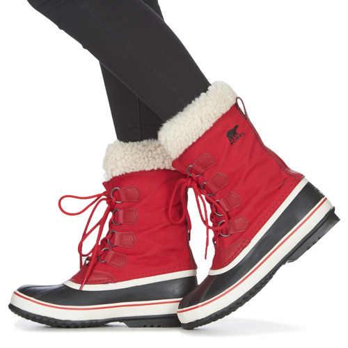 Dámske zimné kvalitné topánky v červenom prevedení