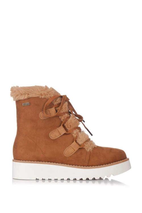 Hnedé dámske zimné topánky na nižšom kline