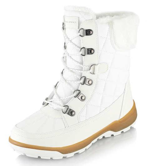 Biele dámske snehule Alpine Pro s kožušinkou a šnurovaním