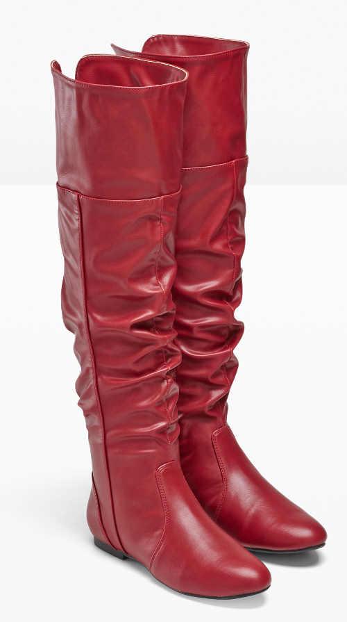 Červené čižmy nad kolená z umelej kože