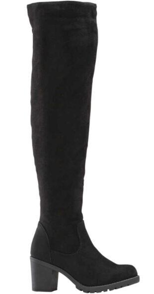 Čierne vysoké dámske čižmy nad kolená Bonprix