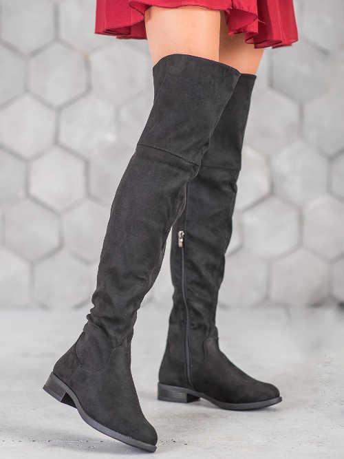 Dámske moderné čižmy vysoké nad koleno