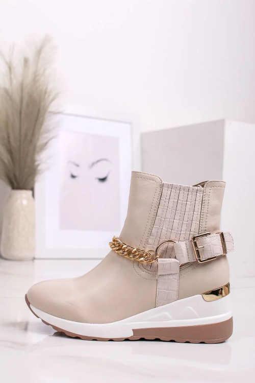 Dámske topánky na platforme v béžovej farbe