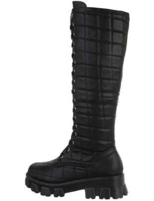 Dámske vysoké čierne šnurovacie topánky