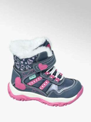 Detské zimné topánky s kožušinou a zdobené srdiečkom
