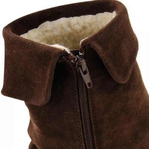 Hnedá členková dámska zimná obuv s kožušinkou