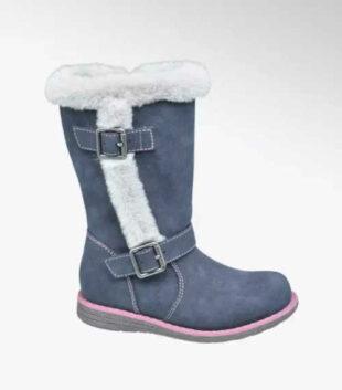 Modré dievčenské moderné topánky s kožušinou