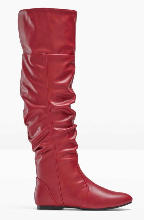 Vysoké červené kožené čižmy bez podpätku