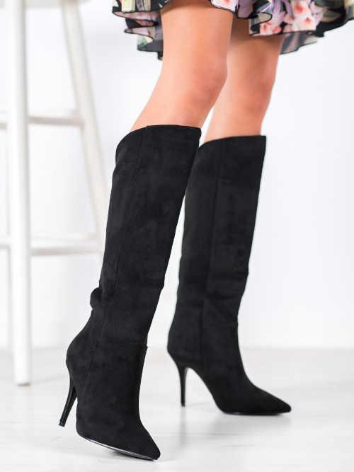 Dámske semišové topánky na vysokom podpätku