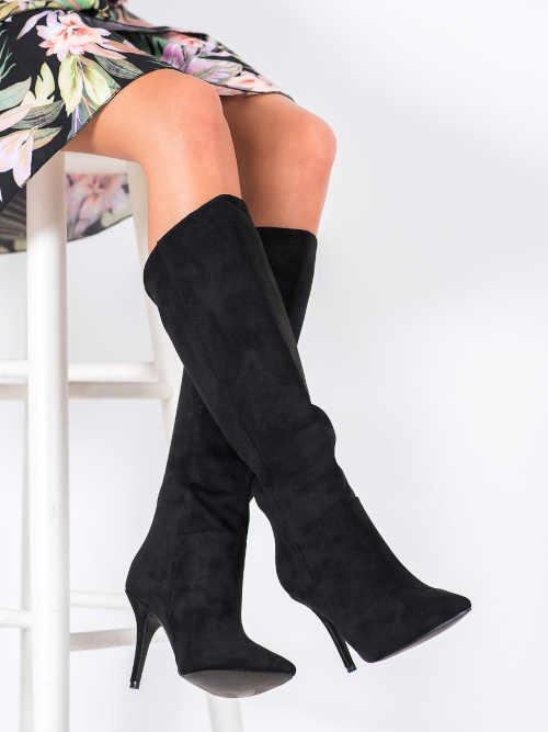 Semišové vysoké dámske topánky