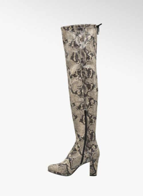 Vysoké topánky nad kolená sivo-béžové
